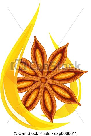 Vector Clip Art of Anise oil. Stylized drop. Vector illustration.