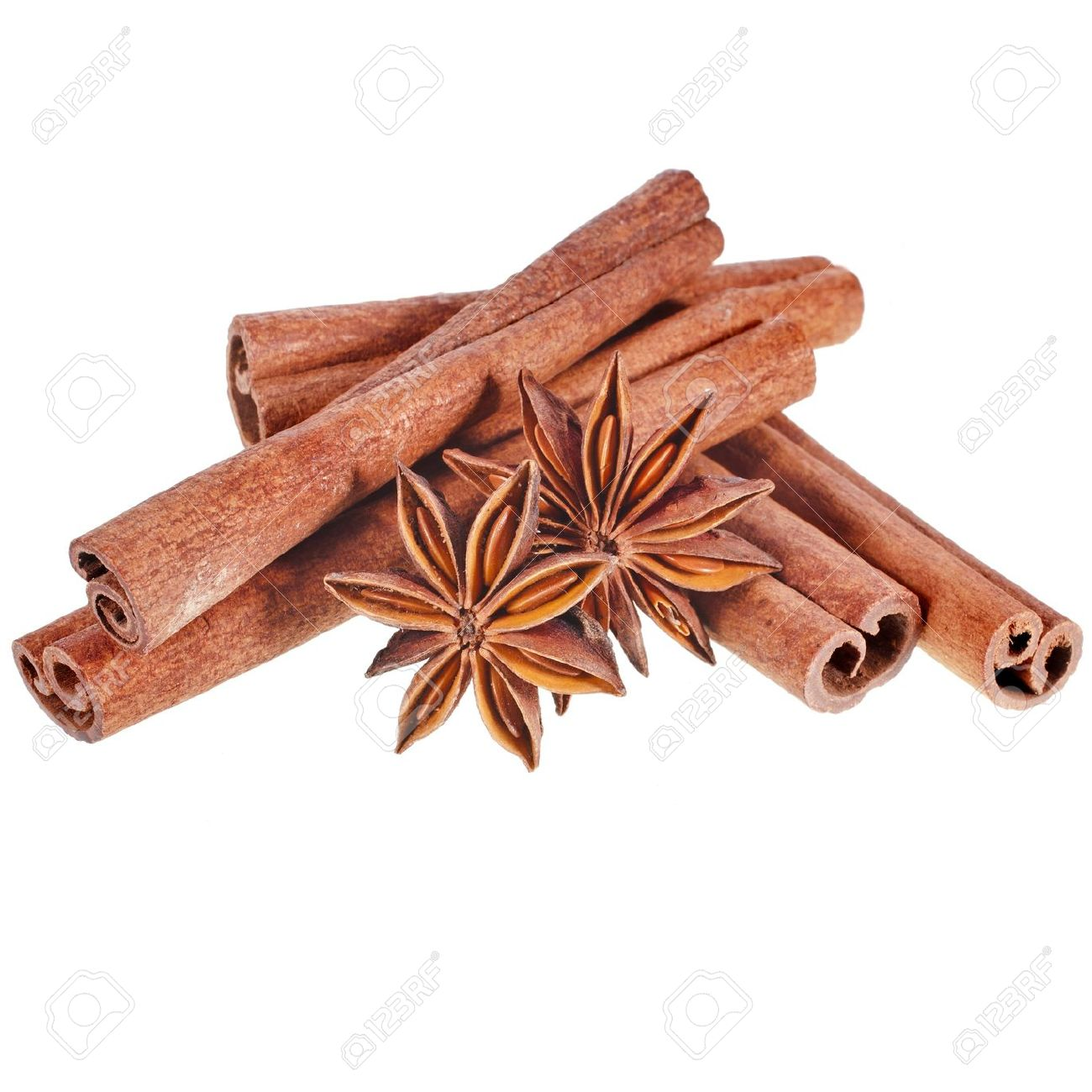 Cinnamon Sticks With Whole Star Anise Isolated On White Background.