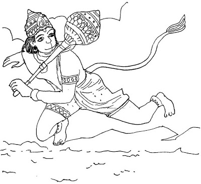 Lord Hanuman Pictures For Colouring.