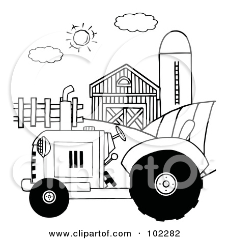 Red Barn And Tractor Clipart.
