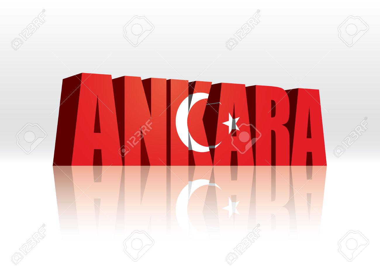 3D Vector Ankara (Turkey) Word Text Flag Royalty Free Cliparts.