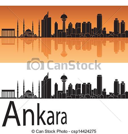 Vectors Illustration of Ankara skyline in orange background in.