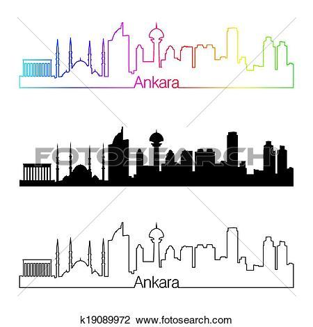 Clipart of Ankara skyline linear style with rainbow k19089972.