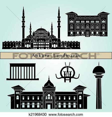Clipart of Ankara landmarks and monuments k21968430.