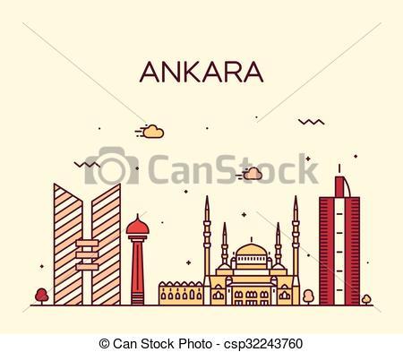 Clip Art Vector of Ankara skyline vector illustration linear style.
