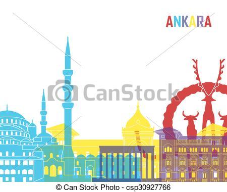 Clip Art Vector of Ankara skyline pop in editable vector file.