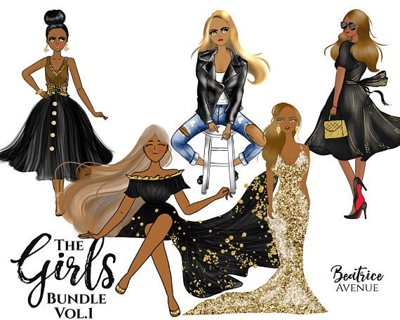 African American clipart Gold fashion girl clipart fashion.