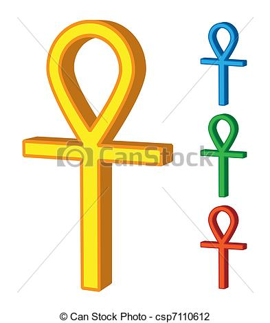Vector Illustration of 3d ankh symbol in colour csp7110612.