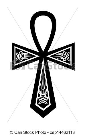 Vector Clip Art of Ankh with a pattern on a white background.