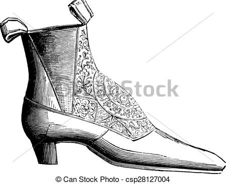 Vector Clipart of Ankle boot low elastic silk, vintage engraving.