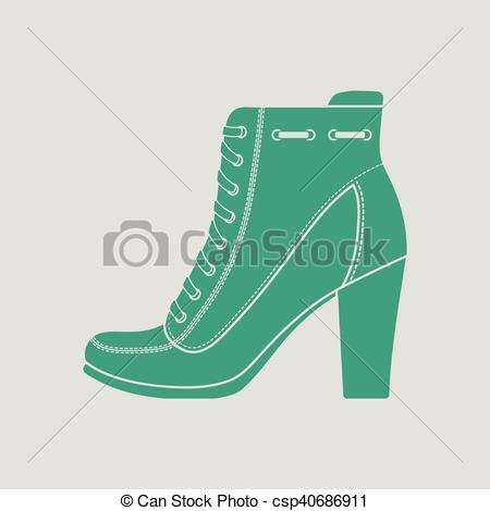 Vector Clip Art of Ankle boot icon. Gray background with green.