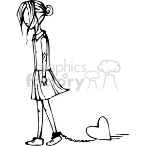 girl with a heart chained to her ankle clipart. Royalty.