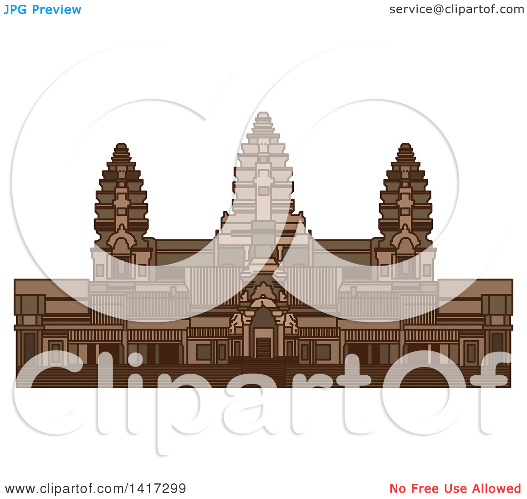 Clipart of a Landmark, Angkor Wat Ancient Temple in Cambodia.