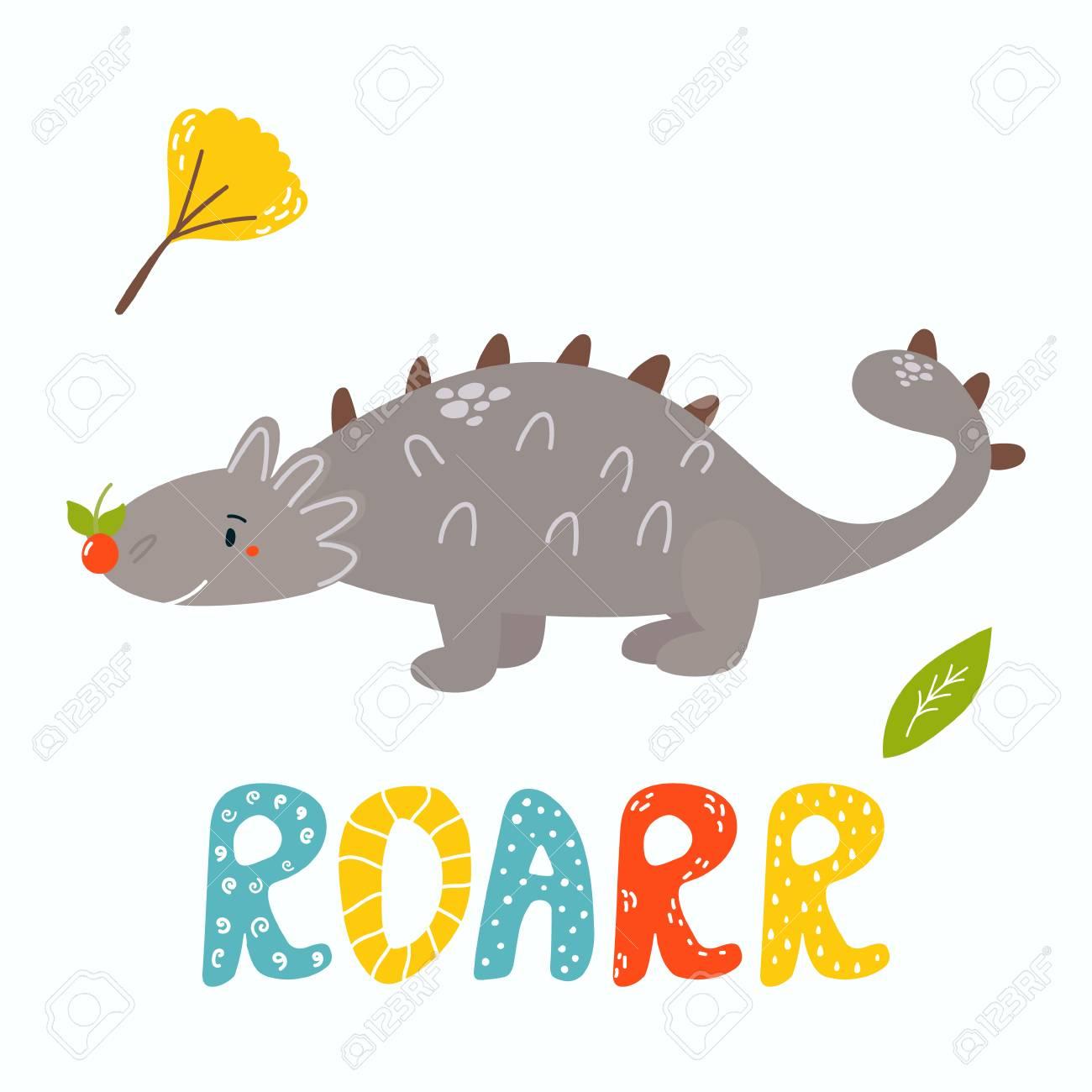 Cute ankylosaurus dino. Roarr greeting card.