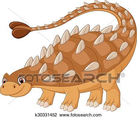 Cartoon happy ankylosaurus Clipart.