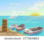 Sun Sea Free Vector Art.
