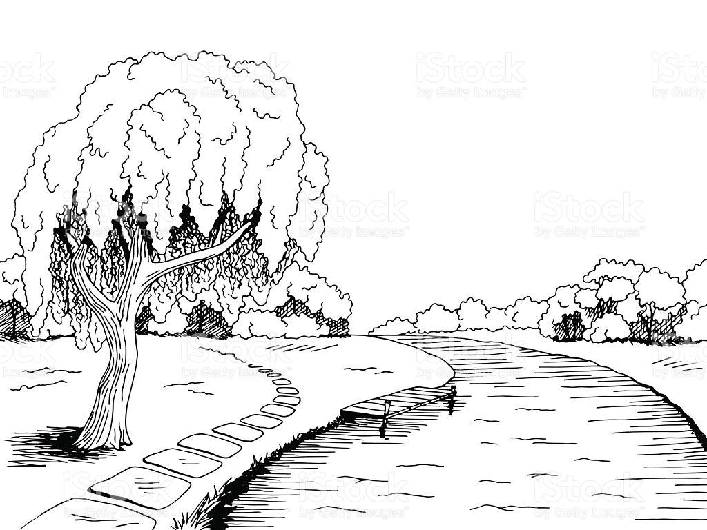 Park Fluss Weidelandschaft Skizze Vektor Schwarzweiß Vektor.