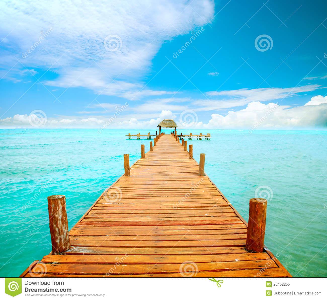 Anlegestelle Auf Isla Mujeres Lizenzfreies Stockfoto.