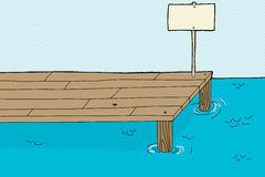 Karikaturhintergrund Von Blauem Meer Mit Pier Stock Abbildung.