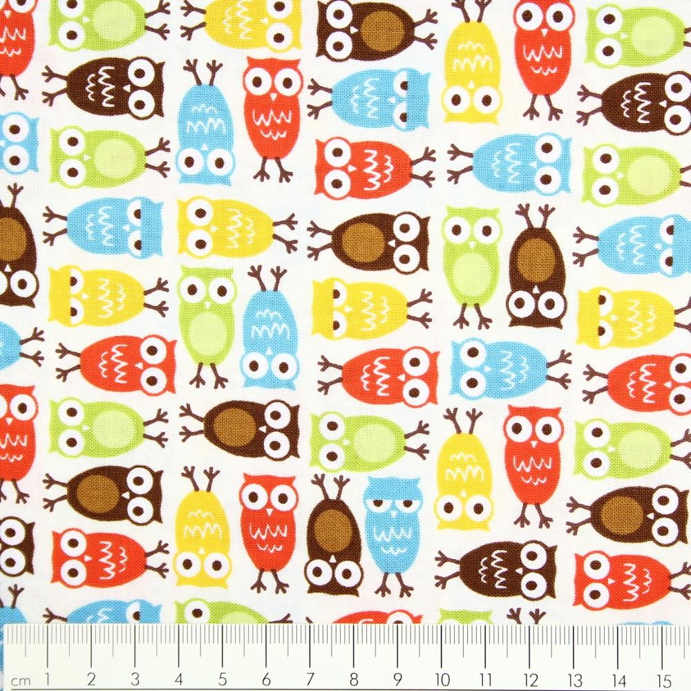 cotton fabric urban zoologie minis owls Ann Kelly Robert Kaufman.
