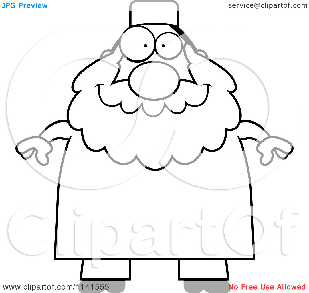 Cartoon Clipart Of A Black And White Chubby Muslim Man.