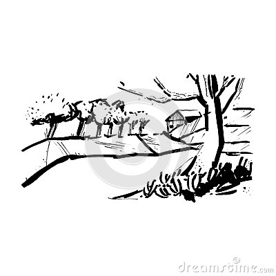 Landscape With The Trees In The Style Of Sketch Art, Line Drawing.