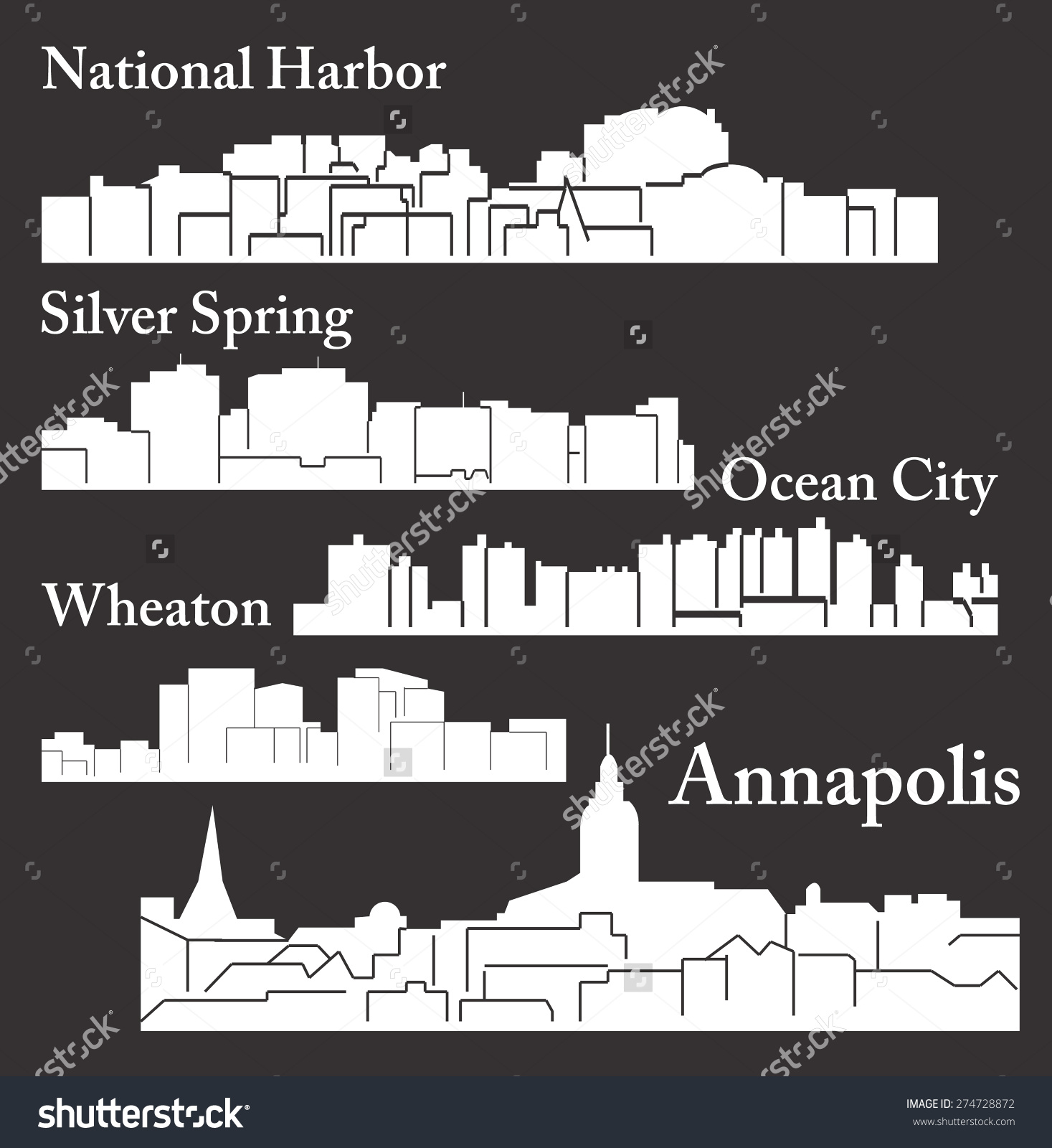 Set 5 City Silhouette Maryland Annapolis Stock Vector 274728872.