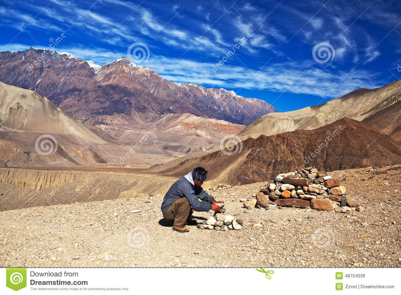 Annapurna Circuit Trek, Nepal Editorial Stock Photo.