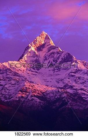 Stock Photograph of View of Machhapuchhare at sunrise from.