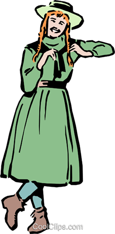 Anne of Green Gables Royalty Free Vector Clip Art illustration.