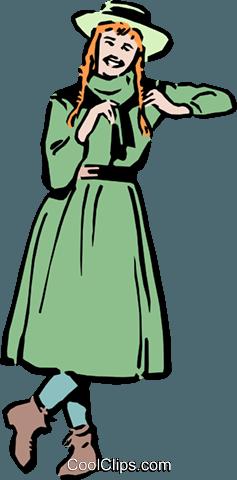Anne of Green Gables Royalty Free Vector Clip Art illustration.
