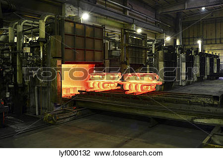 Stock Photo of Cast iron in annealing oven in a foundry lyf000132.