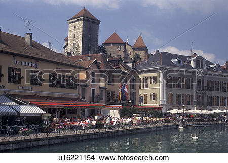 Stock Photo of outdoor cafT, France, Annecy, Haute.