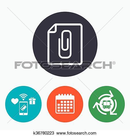 Clipart of File annex icon. Paper clip symbol. k36780223.