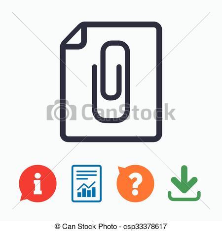 Vector Clip Art of File annex icon. Paper clip symbol. Attach.