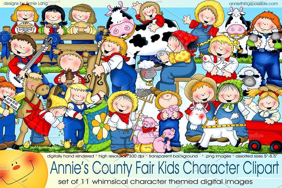 County Fair Kids Character Clipart.