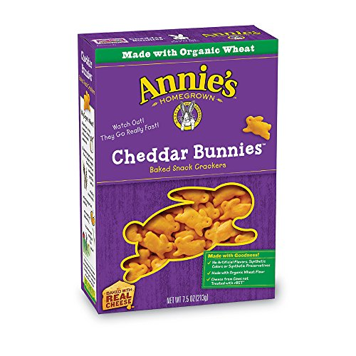 Annie\'s Cheddar Bunnies Baked Snack Crackers 7.5 oz. Box.
