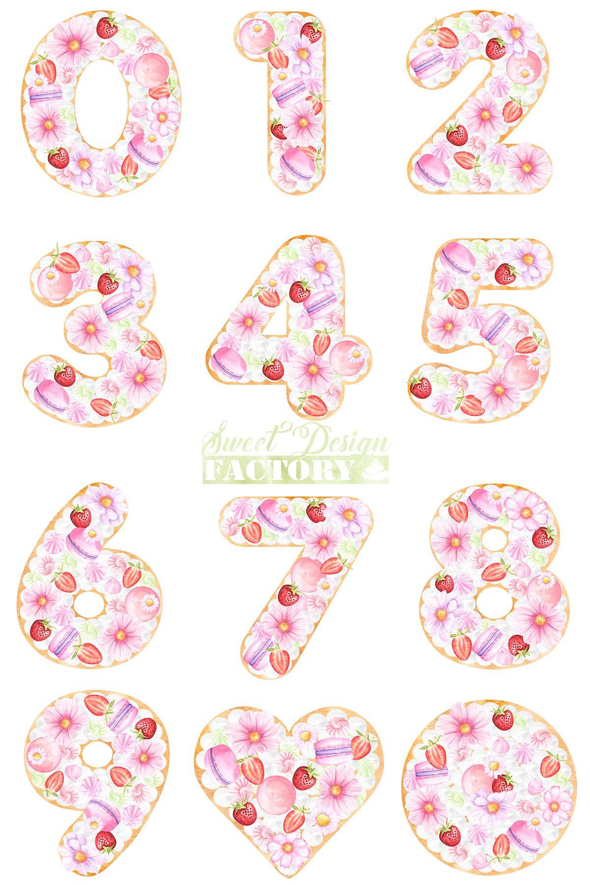 Clipart de chiffre gateau avec fruit à l\'aquarelle, clipart.
