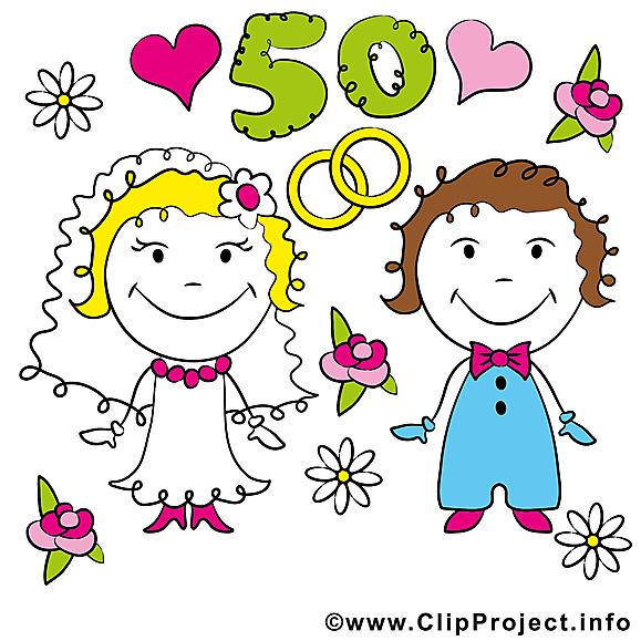 50 ans anniversaire mariage clipart.