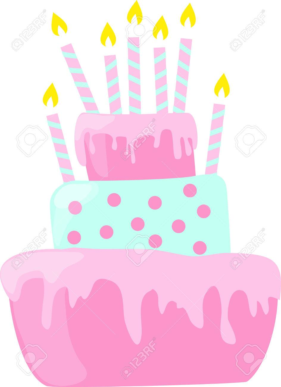 Pink anniversary cake with candles decorations in light pastel...
