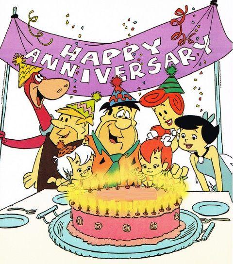 Flintstones Happy Anniversary card cover.