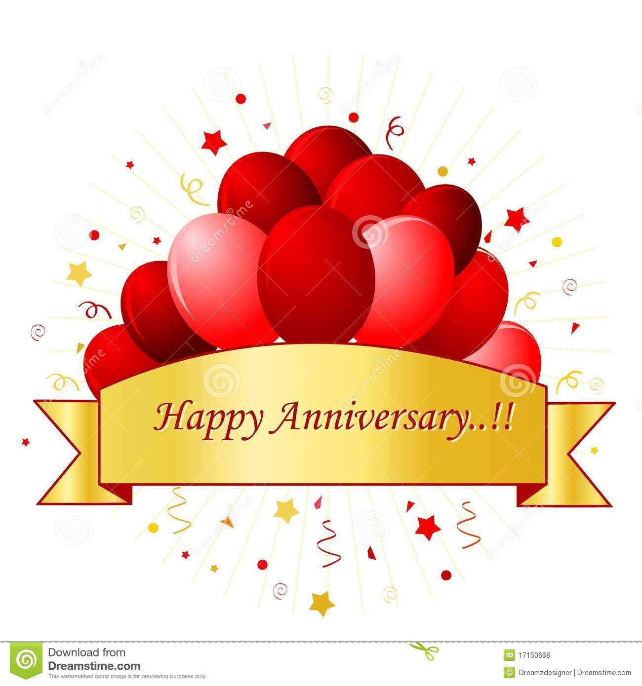 Happy Anniversary card in red letters with beautiful red.