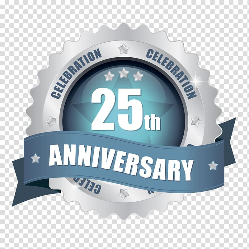 Silver and blue 25th anniversary logo, Birthday Wedding.