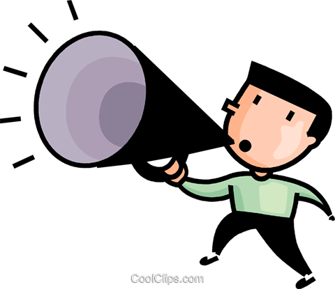 man making announcements Royalty Free Vector Clip Art illustration.