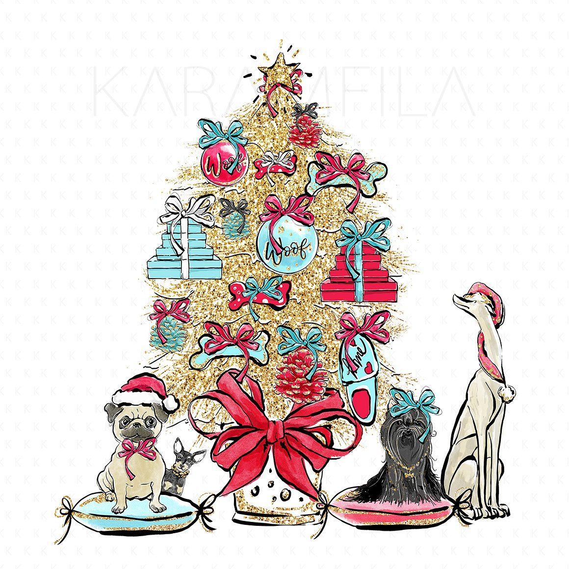 Christmas Dogs Clipart #KaramfilaSiderova#creativemarket.