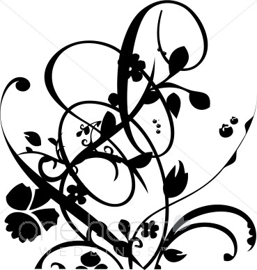 Black and White Vine and Floral Flourish Clipart.