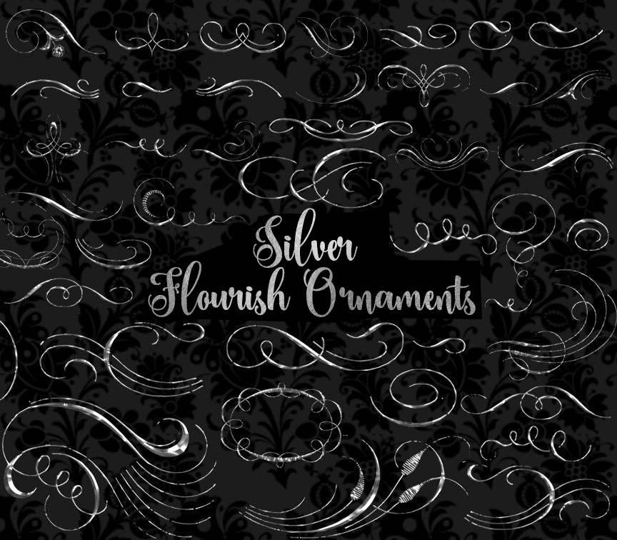 Silver Flourish Ornaments Clipart.