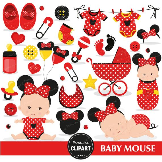 Mouse Baby Shower Clipart, Baby Girl Clipart, It\'s a girl.