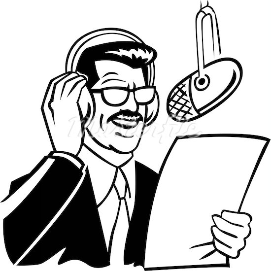 Clipart radio announcer.