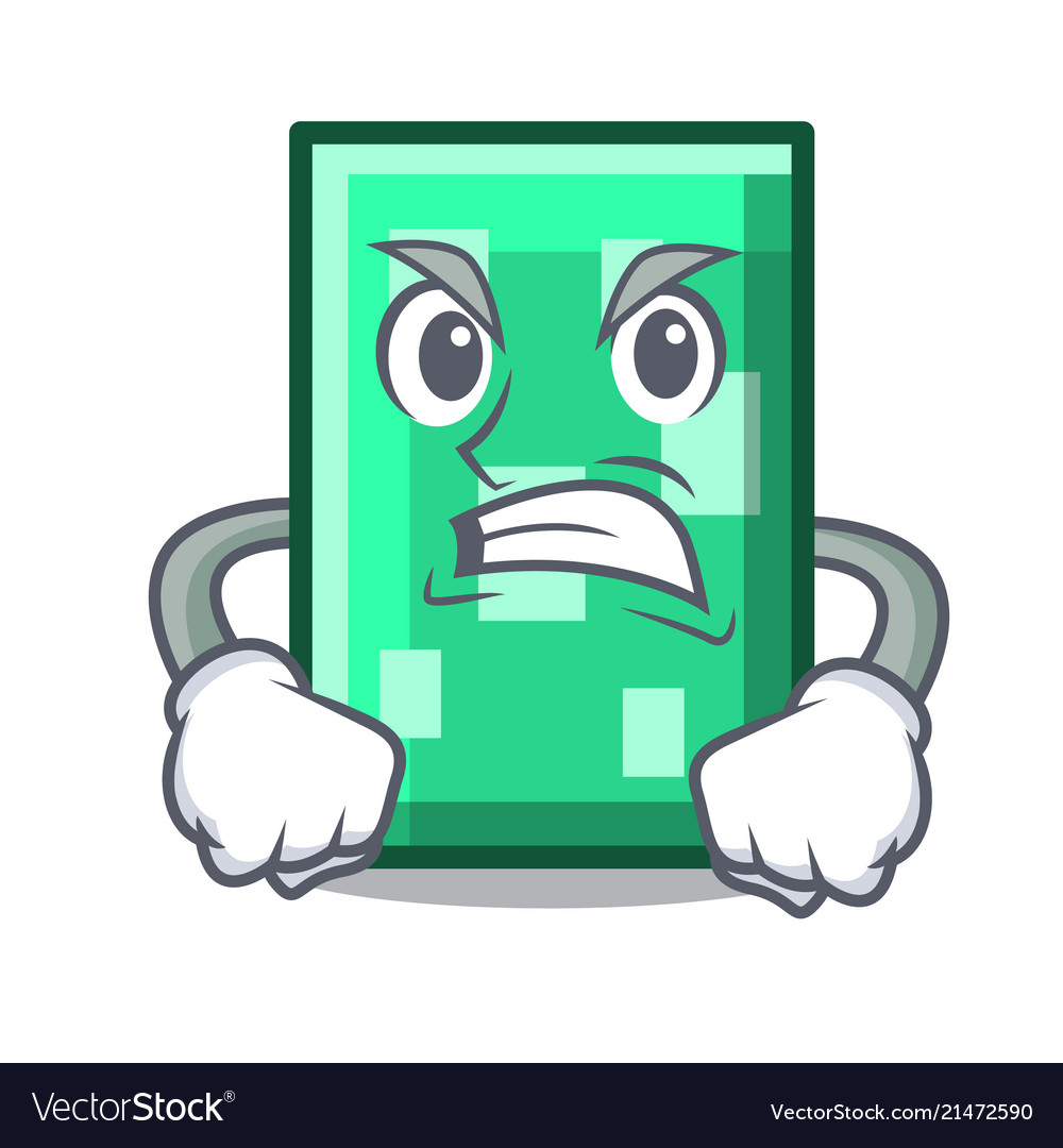 Angry rectangle mascot cartoon style.